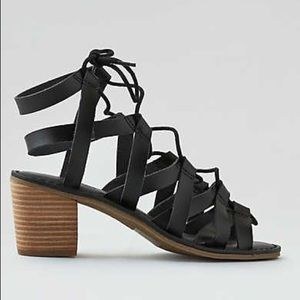 Chunky block lace up sandals